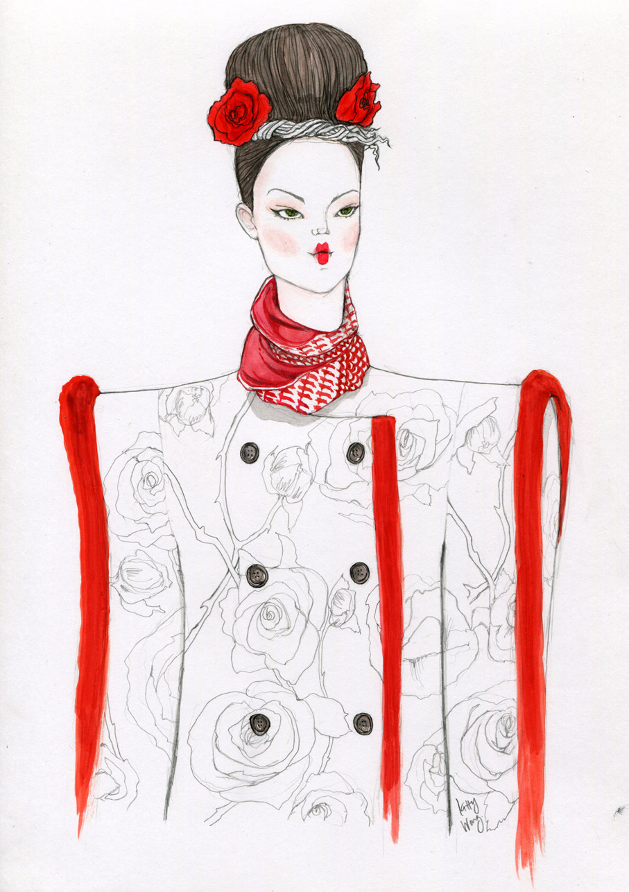thom browne nyfw rose pencil and gouache sketch illustration portrait