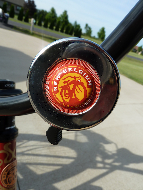 close up image of the Custom bike bell of the Fat Tire 2011 Anniversary bicycle by Felt Bicycle Company