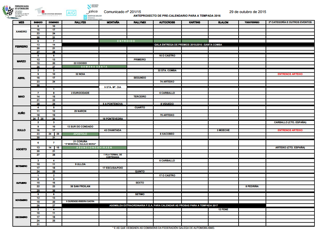 """... Results for """"Calendario Rallyes Tenerife 2016"""" – Calendar 2015"""