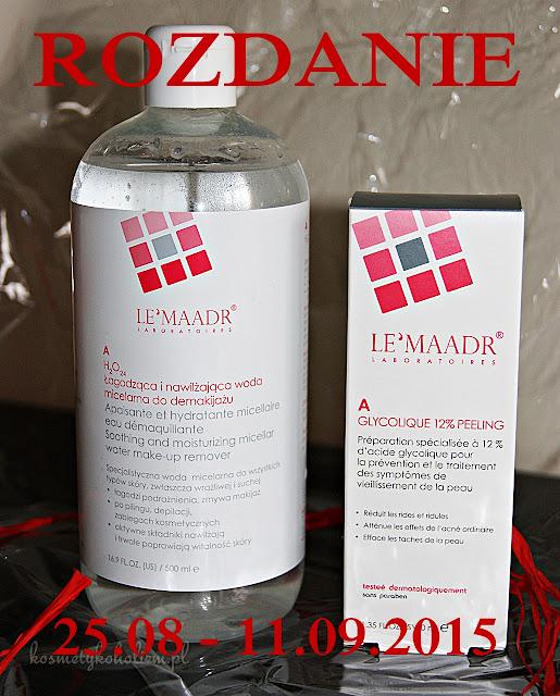 Rozdanie z LE'MAADR | 12% Peling glikolowy | Łagodząca woda micelarna