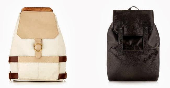 mochilas beige de lona y negra de piel