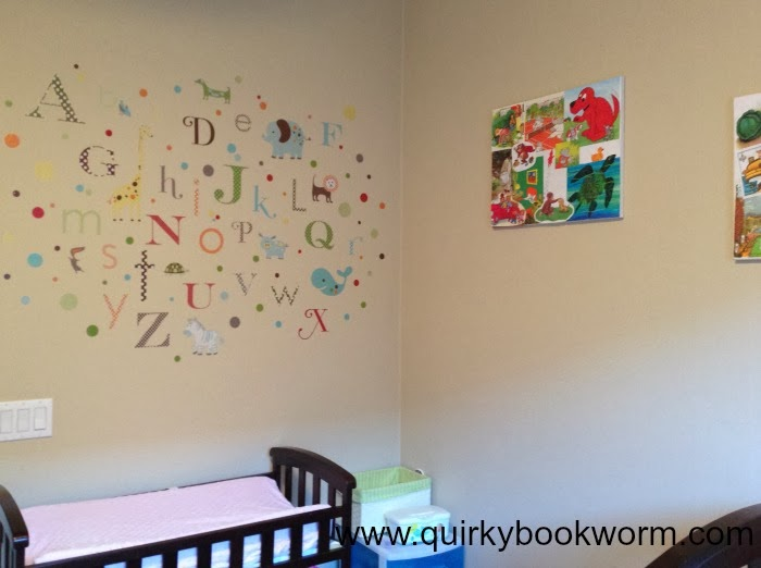 Quirky Bookworm: Creating a Simple Book-Themed Nursery // Making easy book collage art, a book garland, and an alphabet wall for a baby nursery.