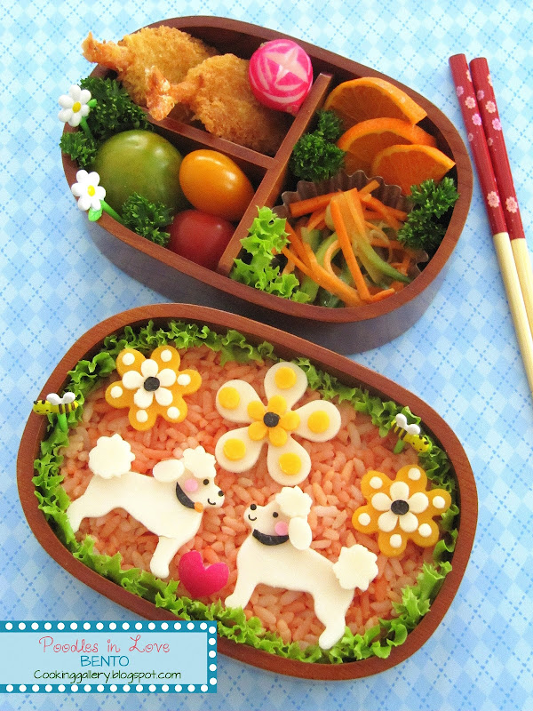 Poodles in Love Bento