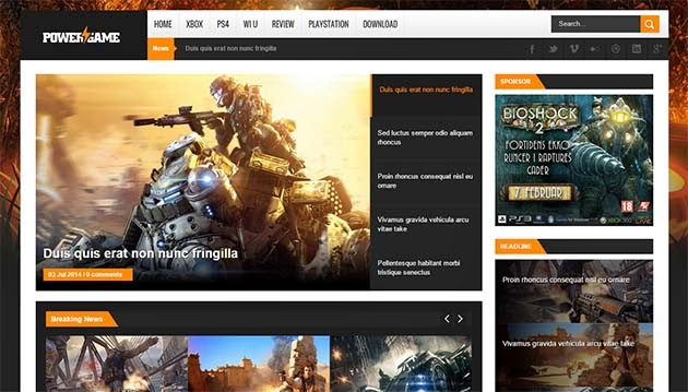 PowerGame Responsive Blogger Template