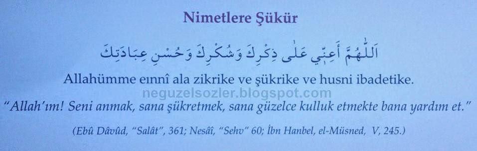 Hergün okunacak dualar/Nimetler şükür,Allah a güzelce kulluk etme duası