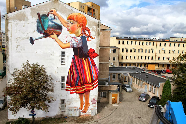 Polish Street Artist Natalia Rak Paints A New Mural On The Street Of Bialystok For Folk On The Street. 1