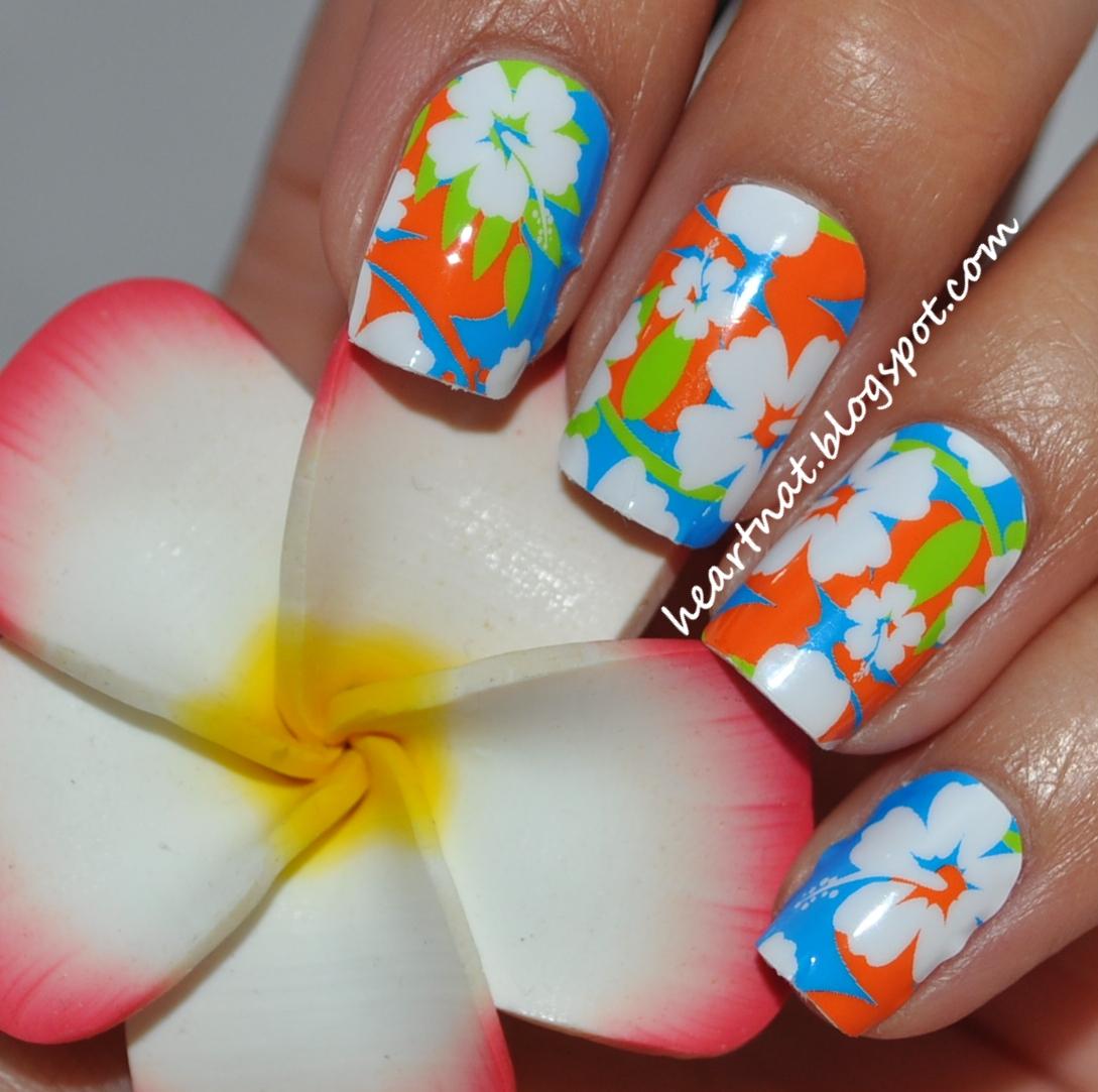 French Nail Art Jamberry Nail Shields Aloha Flower