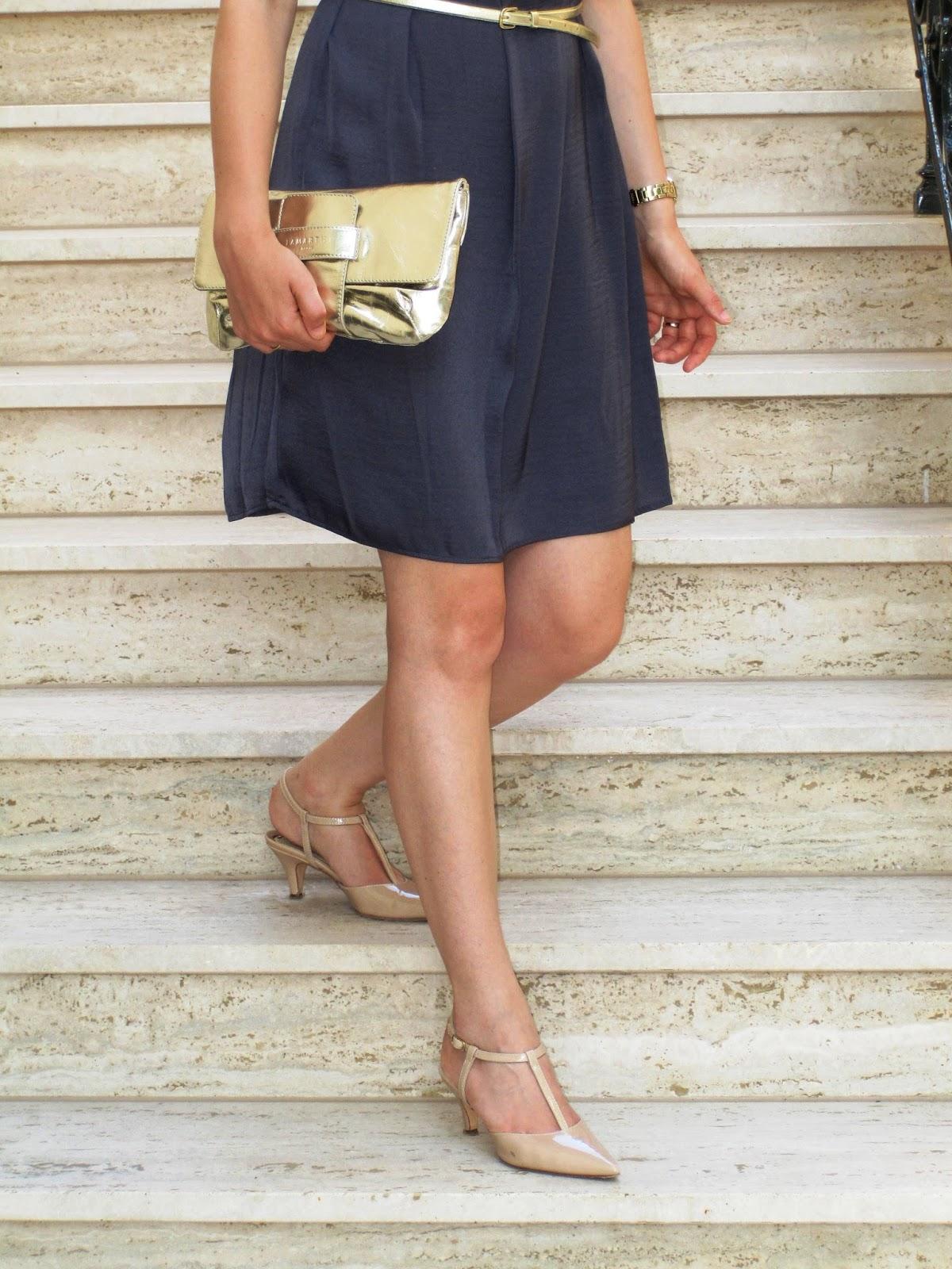 Party dress, metallic bag