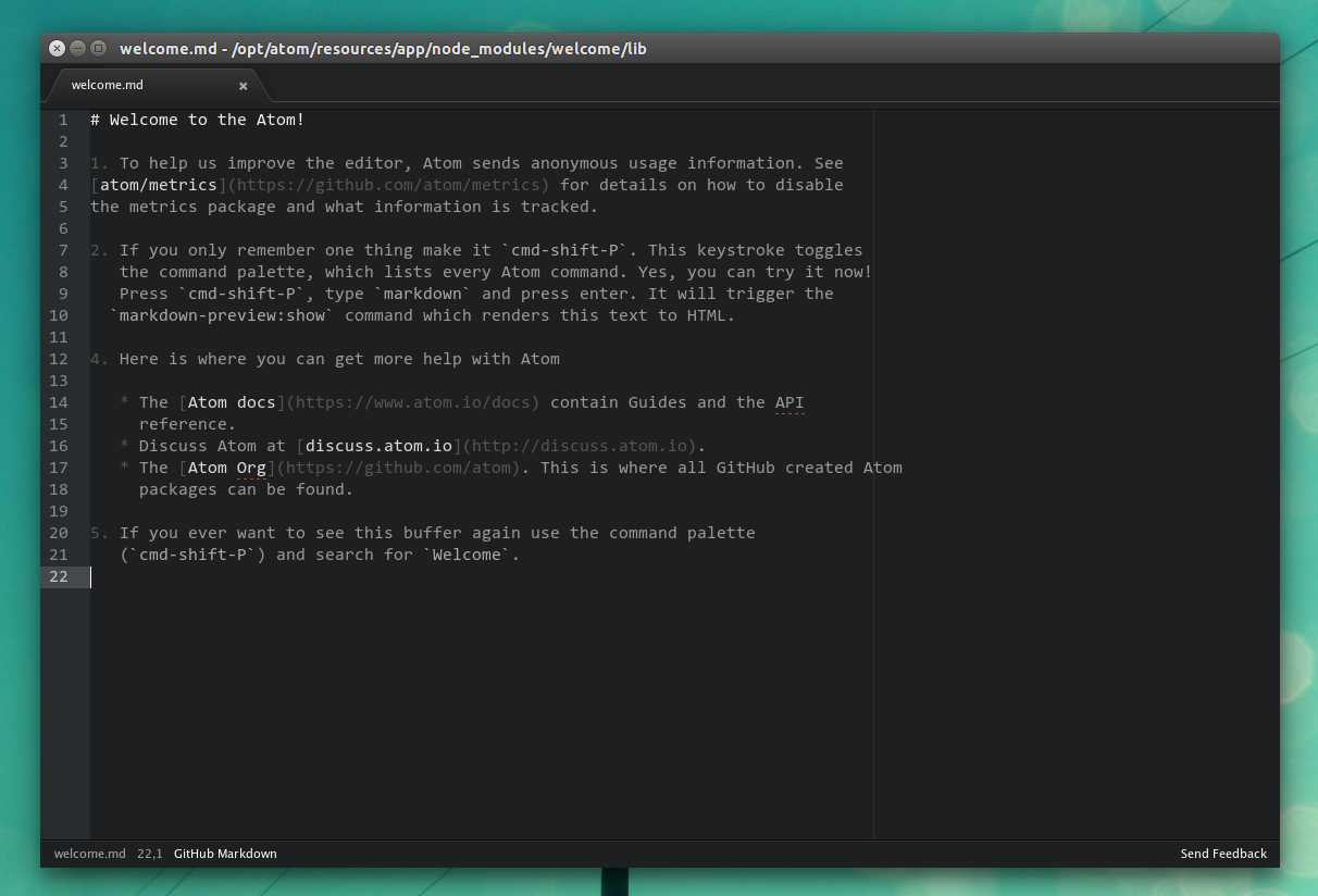 Install the beautiful text editor ATOM TEXT on Ubuntu