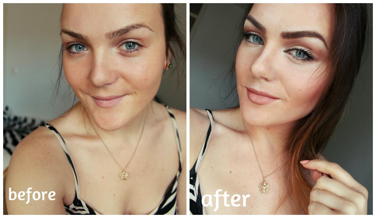 корректируем лицо румянами до и после