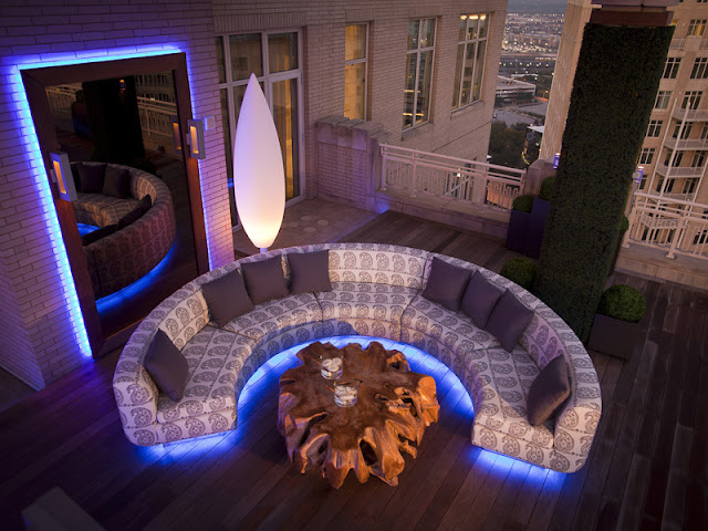 Photo of moon shaped sofa on the terrace