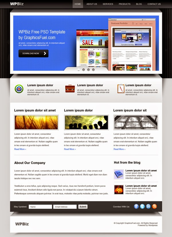 Free WordPress Business Website PSD Template