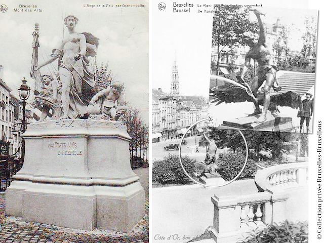 Mont des Arts - Bruxelles disparu - Avis de recherche pour ces deux sculptures du premier Mont des Arts qui semblent s'être volatilisées - Bruxelles-Bruxellons