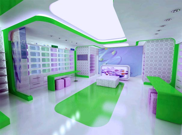 Modern Drug Stores Design Ideas with Interior Lighting