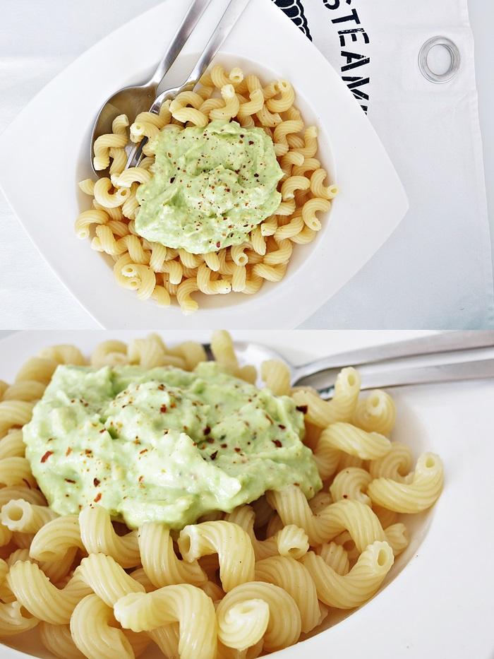 Pasta mit Avocado-Joghurt-Sauce