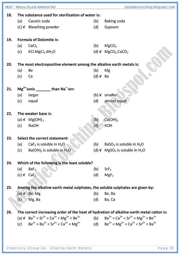 mcat-chemistry-group-iia-(alkaline-earth-metals)-mcqs-for-medical-entry-test