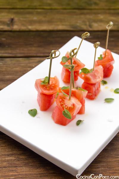 Pincho de Sandia y Tomate - Tapa de Verano