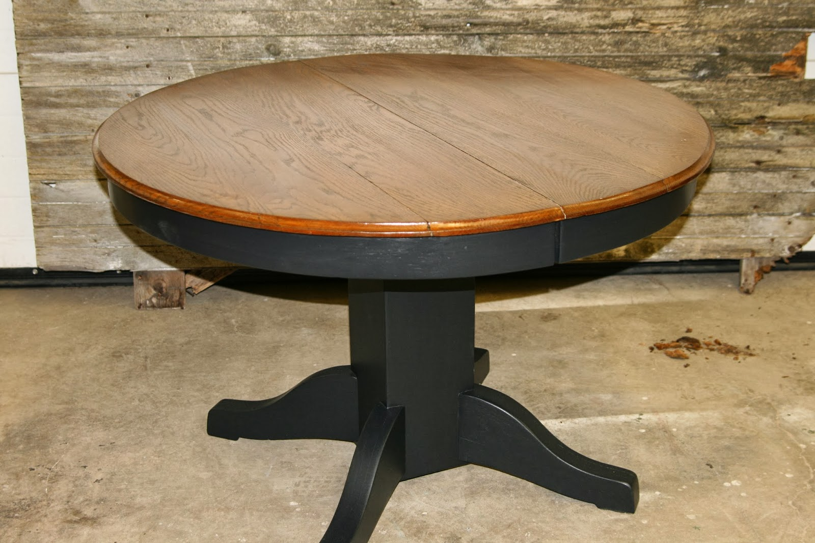 Laurel S Attic Black Pedestal Table With Stained Top Sold