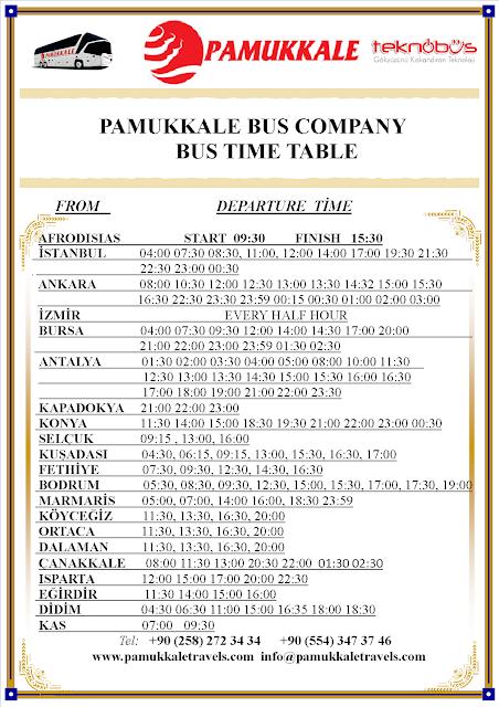 pamukkale bus company bus timetable