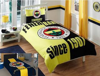 Taç Lisanslı Fenerbahçe 1907 Nevresim Takımı + Aksu Fenerbahçe Logo Battaniye Tek Kişilik