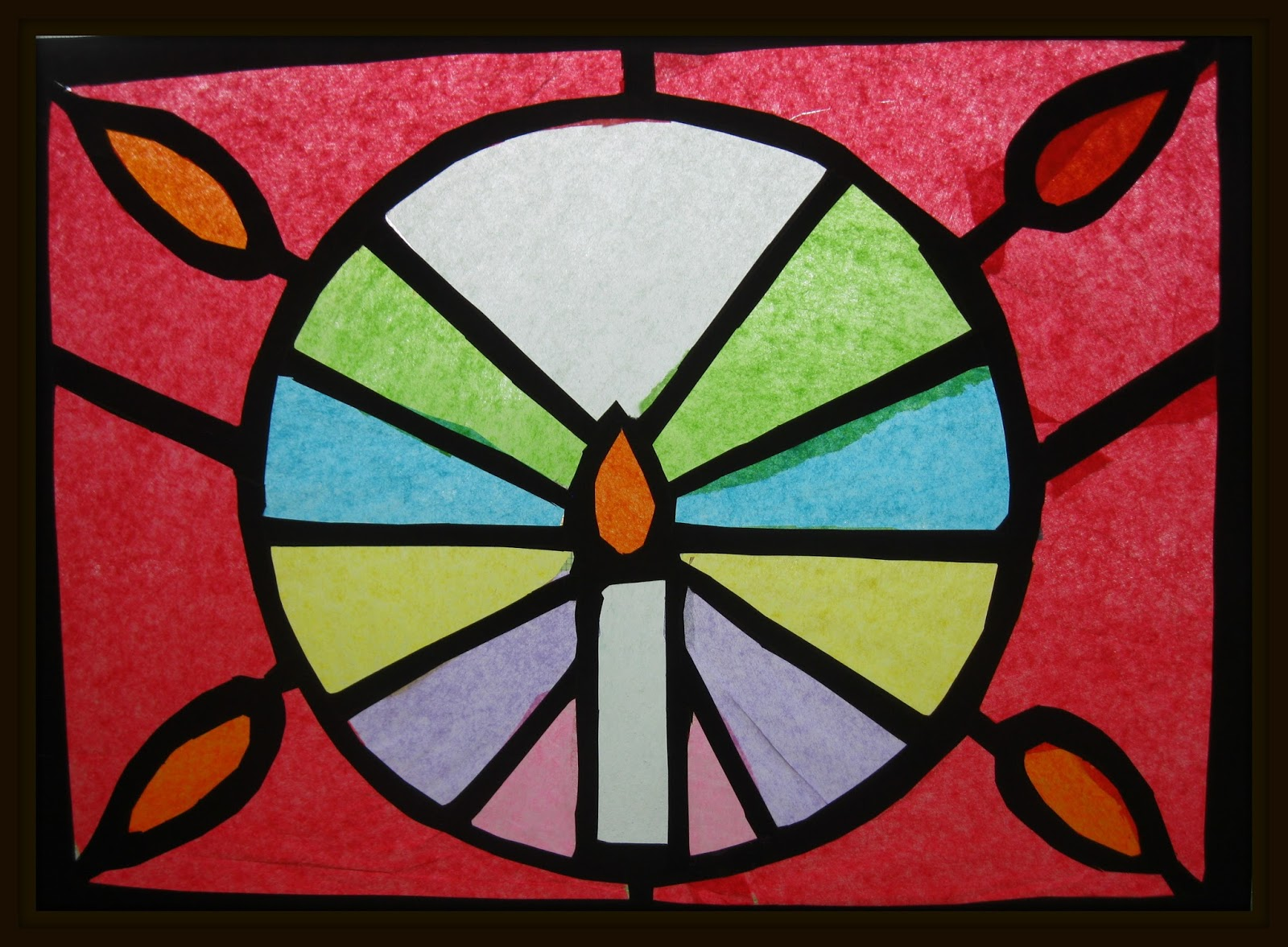tissue paper stained glass art class ideas