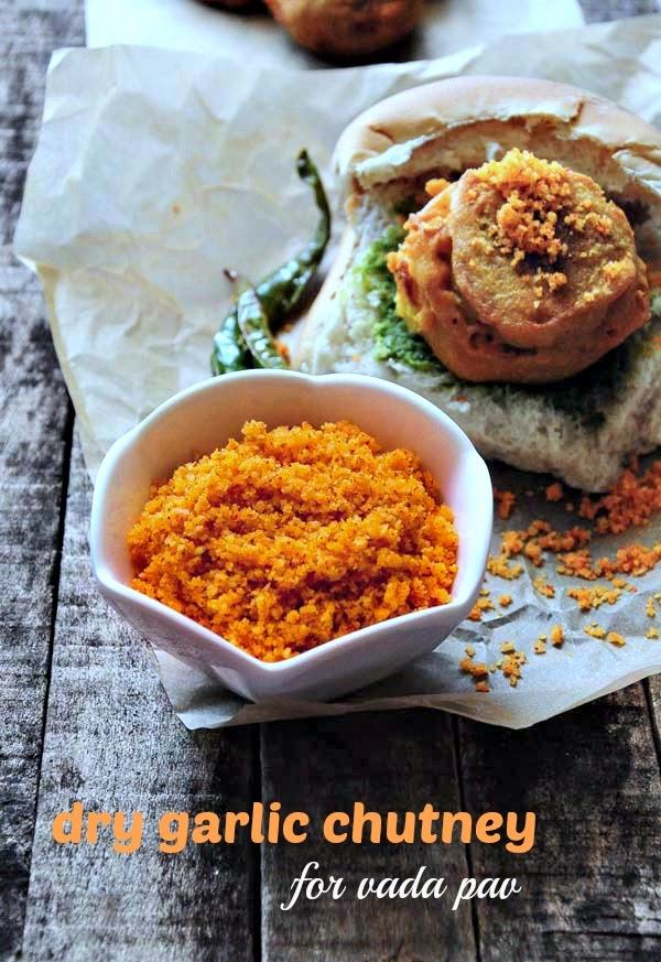 dry garlic chutney recipe - spicy red garlic chutney for vada pav