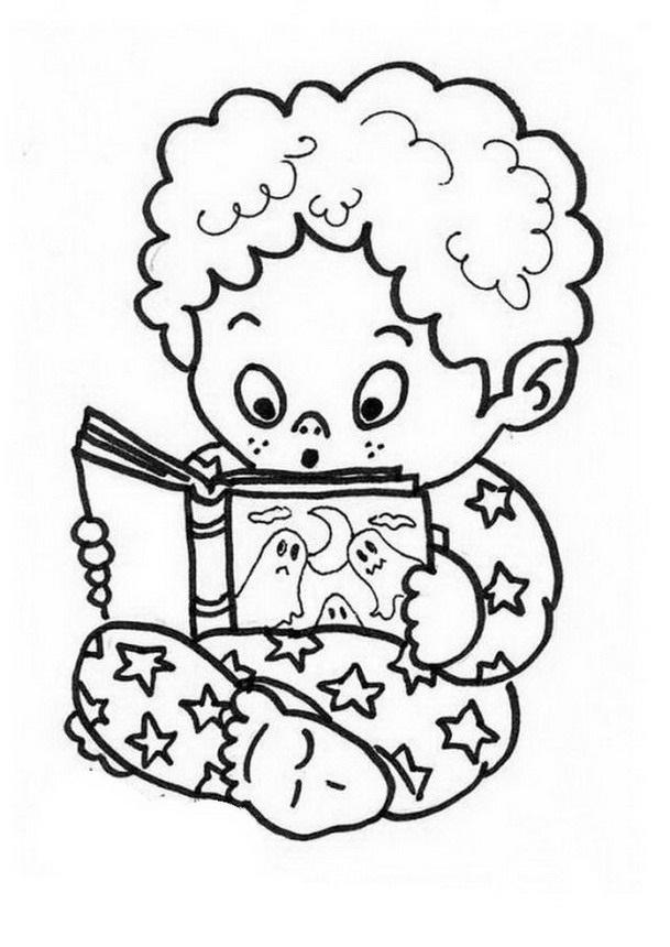 COLOREA TUS DIBUJOS: Niño leyendo cuento para colorear