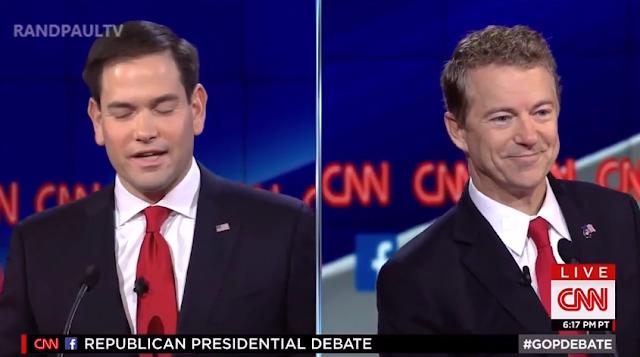 Rand Paul Marco Rubio CNN GOP Debate splitscreen