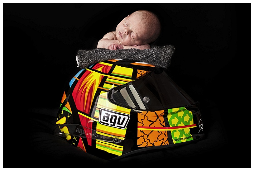 Baby on Motorbike Helmet