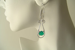 Green Chalcedony Briolette earrings, SS - ***click pic > diff. views