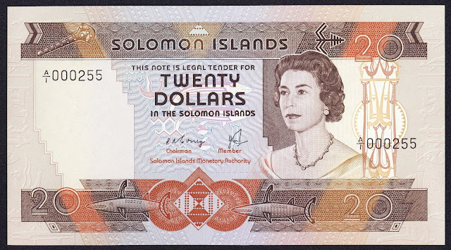 Solomon Islands money currency 20 Dollars banknote 1981 Queen Elizabeth II