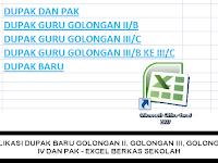 5 APLIKASI DUPAK BARU GOLONGAN II, GOLONGAN III, GOLONGAN IV DAN PAK - EXCEL BERKAS SEKOLAH