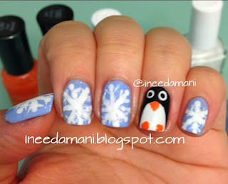 winter holiday snowflakes cute penguin nail art