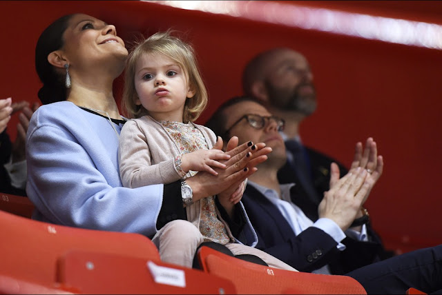 Crown Princess Victoria of Sweden, Prince Daniel and Princess Estelle attends the opening of the European Figure Skating Championships 2015