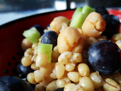 alternative trail mix wheat berry salad with blueberry, garbanzo bean and cucumber