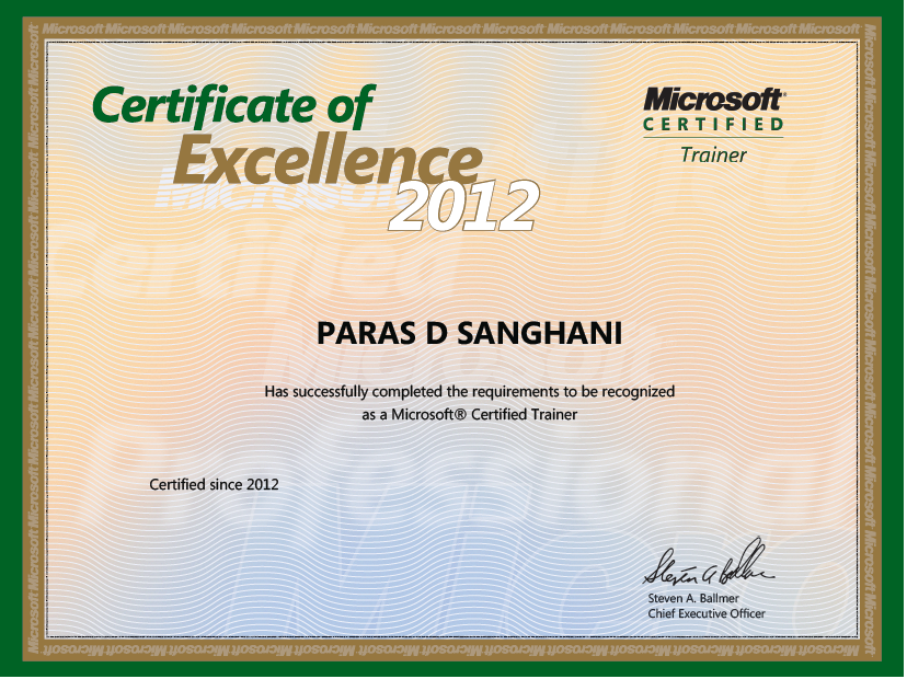 NET: I Am Microsoft Certified Trainer (MCT) 2012  Microsoft Certificate Of Excellence