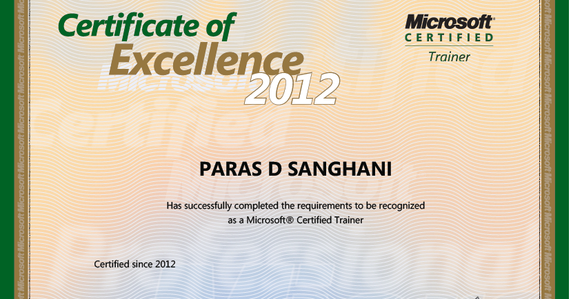 C I Am Microsoft Certified Trainer Mct 2012