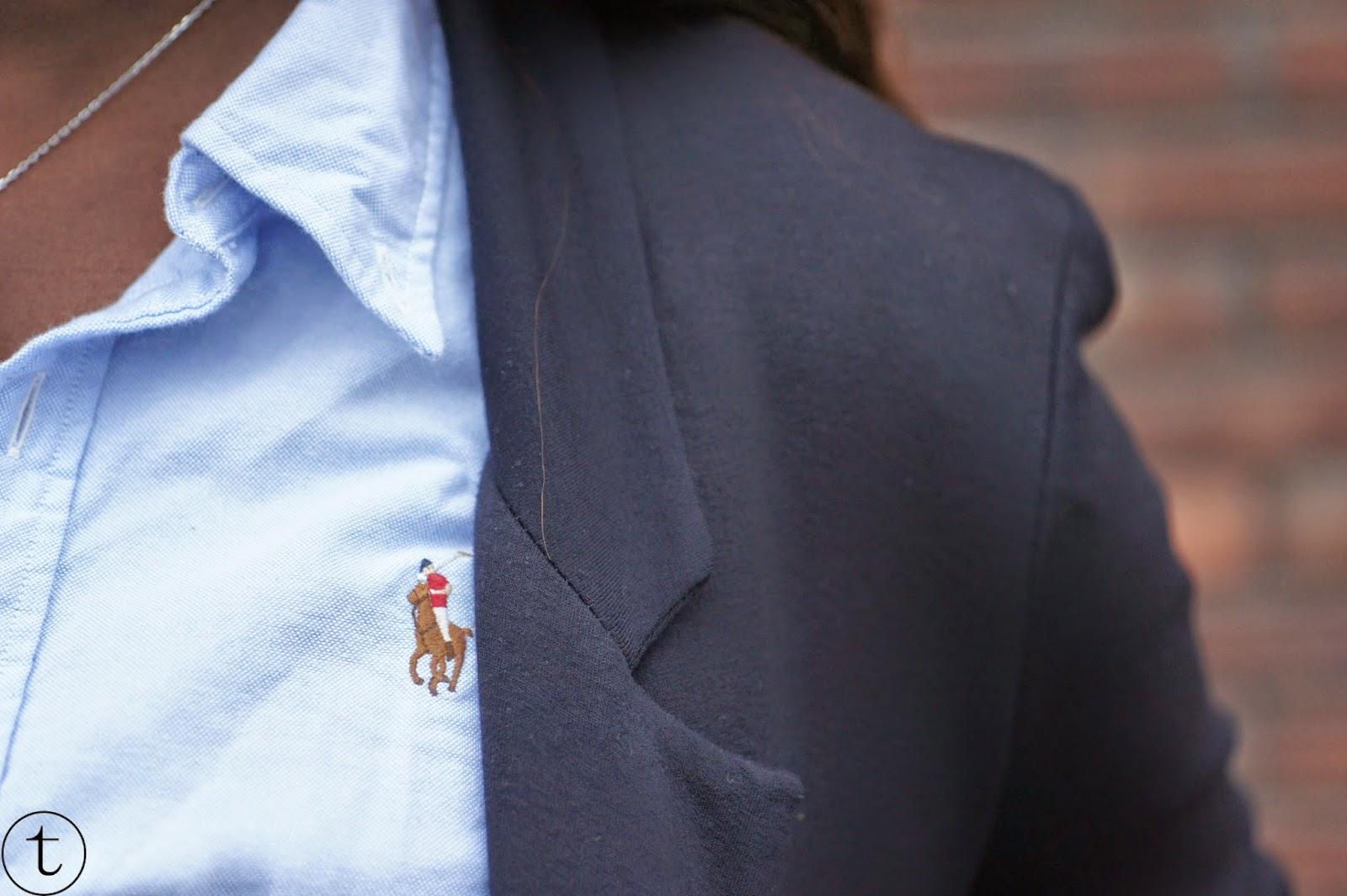 wearing zara blue blazer and blue ralph lauren blouse