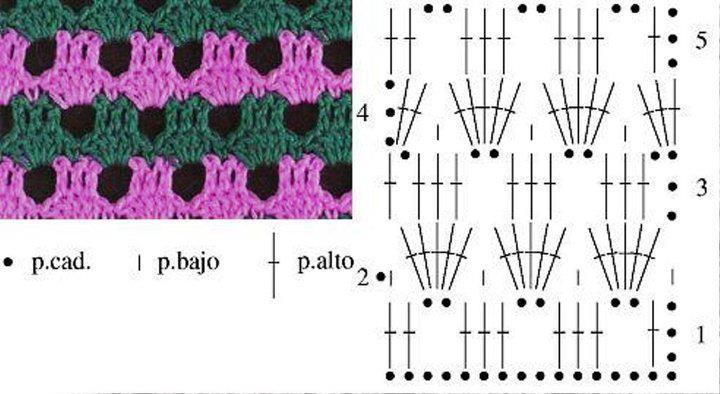Вязание крючком разноцветными нитками схемы