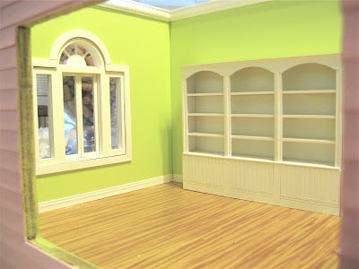 dollhouse crown moulding and hardwood floors