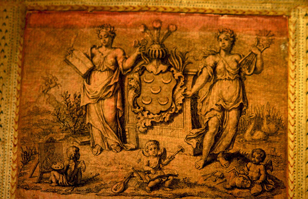 Gravura antiga com a heráldica da família Pinto
