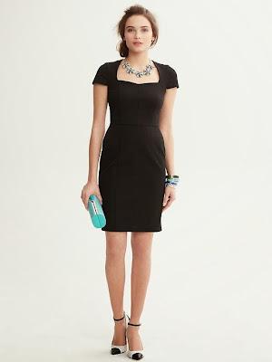 düz kesim siyah elbise, 2014 elbise modelleri, ofis elbisesi