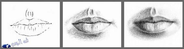 رسم الفم بالرصاص بالخطوات