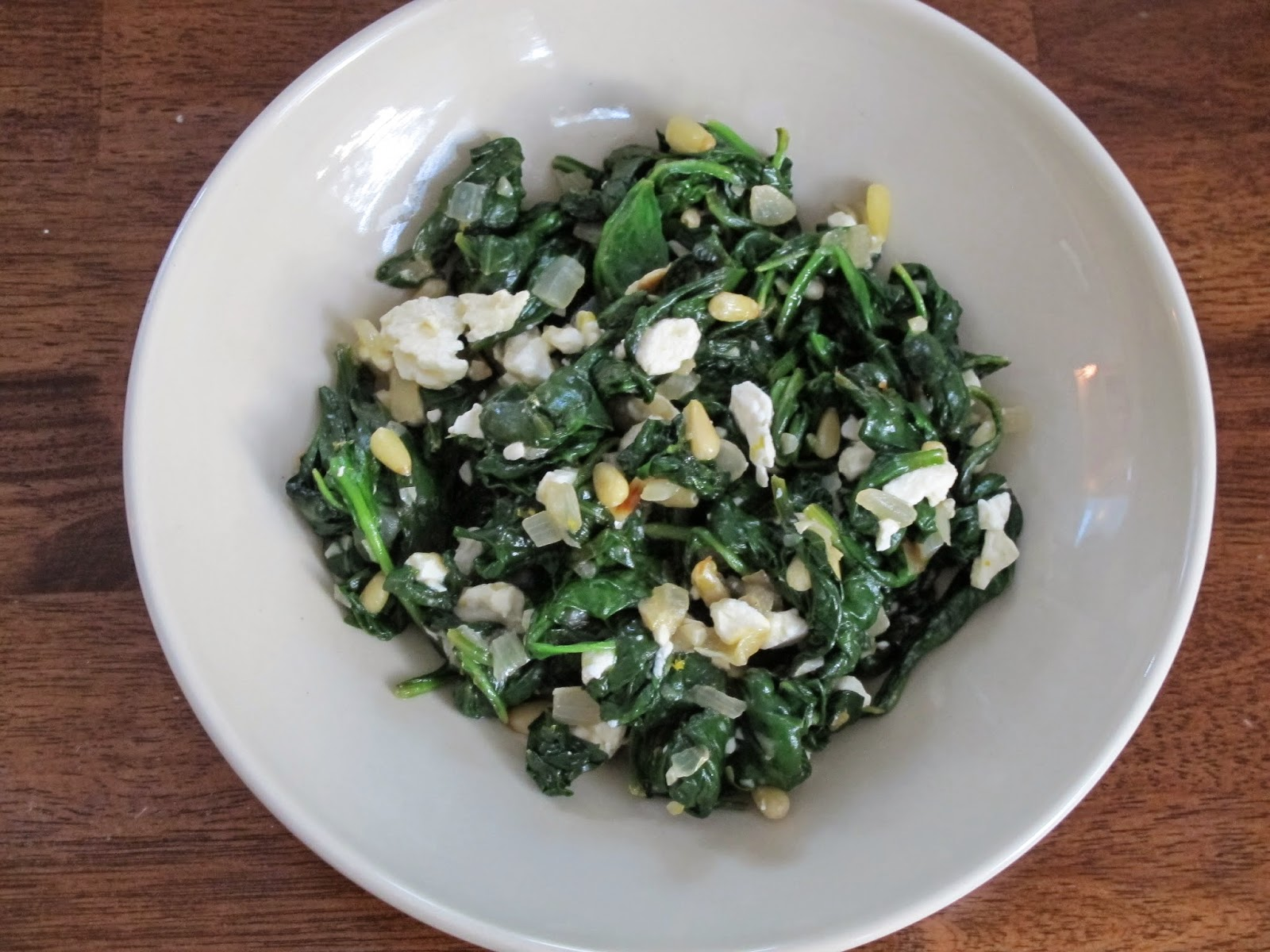 Sauteed Spinach with Feta and Pine Nuts