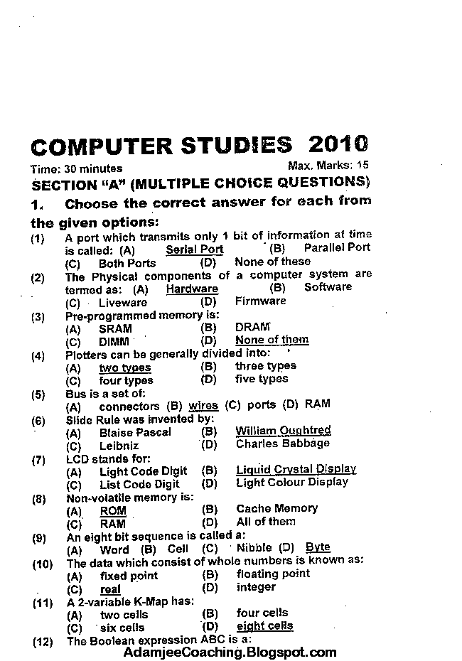 IX Computer Studies Past Year Papers