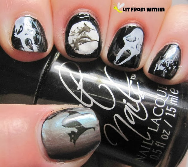 I made the moon with Cult Nails Tempest, and stamped the other images with it, or with Nevermore