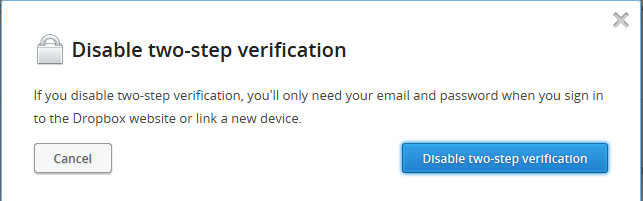 Disable Dropbox two step verification