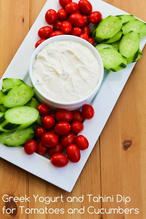 Greek Yogurt and Tahini Dip for Tomatoes and Cucumbers