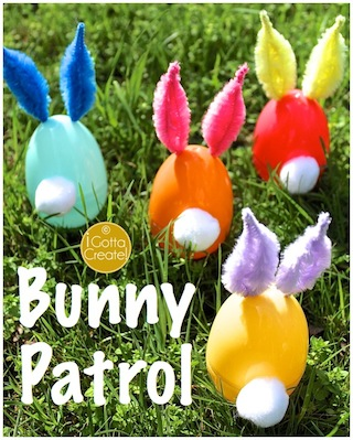 Plastic eggs to chenille ear bunnies by I Gotta Create!