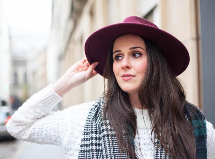 wide brim hat, plaid scarf